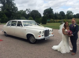 Ivory White Daimler wedding car hire in Harlow